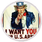 I Want You For U S Army Round Beach Towel