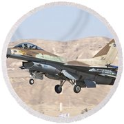 Iaf F-16c Jet Fighter Round Beach Towel