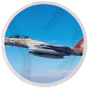 Iaf Fighter Jet F-15i In Flight Round Beach Towel