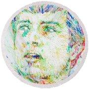Ian Curtis Portrait Round Beach Towel