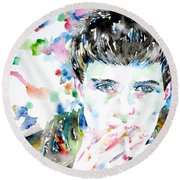 Ian Curtis Smoking Cigarette Watercolor Portrait Round Beach Towel