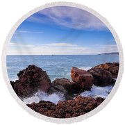 Ibiza Coastline Round Beach Towel