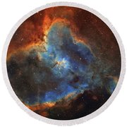 Ic 1805, The Heart Nebula In Cassiopeia Round Beach Towel