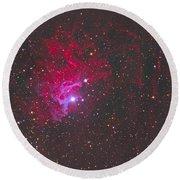 Ic 405, The Flaming Star Nebula Round Beach Towel