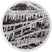 Ice Abstract 2 Round Beach Towel