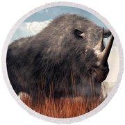 Ice Age Rhino Round Beach Towel