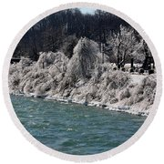 Ice Along The River Round Beach Towel