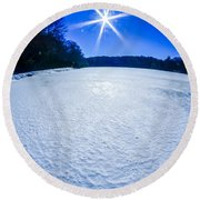 Ice And Snow Frozen Over Lake On Sunny Day Round Beach Towel