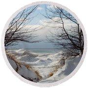 Ice Between The Trees Round Beach Towel