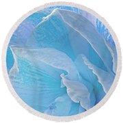 Ice Blue Amaryllis Abstract Round Beach Towel