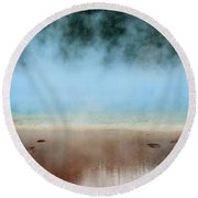 Ice Blue And Steamy Round Beach Towel