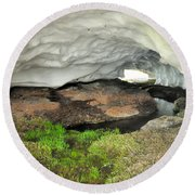 Ice Cave At The Mountains Round Beach Towel