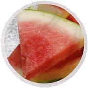 Ice Cold Watermelon Slices 1 Round Beach Towel