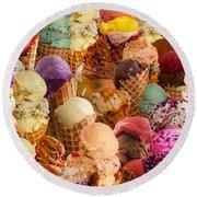 Ice Cream Crazy Round Beach Towel