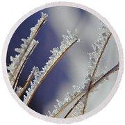Ice Crystals On Fireweed Fairbanks  Alaska By Pat Hathaway 1969 Round Beach Towel