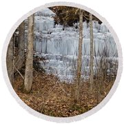 Ice Falls Round Beach Towel
