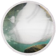Ice Floats In Shallow Lake With Rock Reflections Round Beach Towel