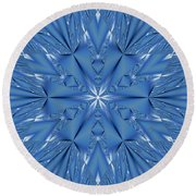 Ice Flower Fractal Round Beach Towel