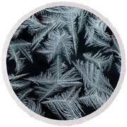Ice-flowers Frost Pattern Tracery On Frost Window Round Beach Towel