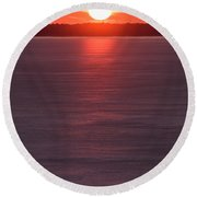 Ice Glow Sunset Seaside New Jersey Round Beach Towel