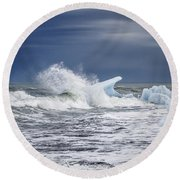 Ice In The Sea Round Beach Towel