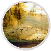 Ice On The River Round Beach Towel