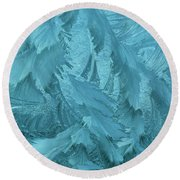 Ice Patterns Formed On Glass Round Beach Towel