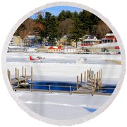 Planes On The Ice Runway In New Hampshire Round Beach Towel