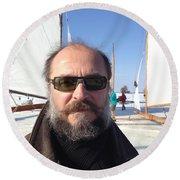 Ice Sailing On The Hudson Beard Contest Round Beach Towel