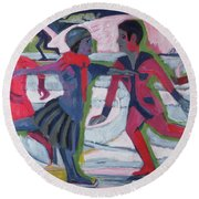 Ice Skaters  Round Beach Towel by Ernst Ludwig Kirchner