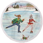 Ice Skaters Round Beach Towel