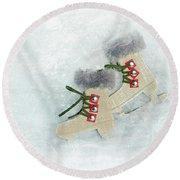 Ice Skates Round Beach Towel
