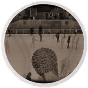Ice Skating At Rockefeller Center In The Early Days Round Beach Towel