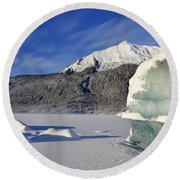 Iceberg And Mount Mcginnis Round Beach Towel