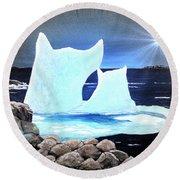 Icebergs At Sunset Round Beach Towel