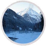 Iceblue Snow Round Beach Towel
