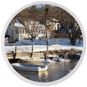 Icebound Harbor Round Beach Towel