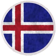 Iceland Flag Round Beach Towel