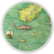 Iceland, From An Atlas Of The World In 33 Maps, Venice, 1st September 1553 Round Beach Towel