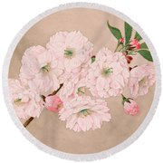 Ichi-yo - Single Leaf - Vintage Japan Watercolor Round Beach Towel