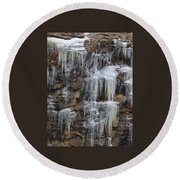 Icicle Cliffs Round Beach Towel