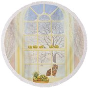 Icicles Round Beach Towel by Ditz