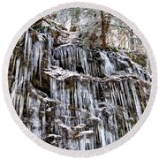Icicles On Forbidden Drive Round Beach Towel