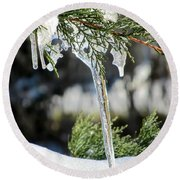 Icicles On Juniper Branch Round Beach Towel