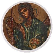 Icon Of Archangel Michael - Painting On The Wood Round Beach Towel