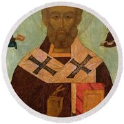 Icon Of St. Nicholas Round Beach Towel