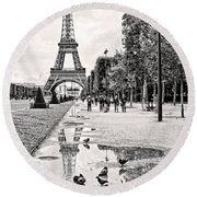 Icon Reflected Bw Round Beach Towel
