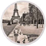 Icon Reflected Sepia Round Beach Towel