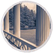 Iconic Columns On An Estate Round Beach Towel