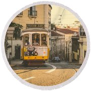 Iconic Lisbon Streetcar No. 28 Iv Round Beach Towel